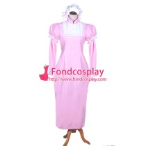 French Sissy Maid Lockable Baby Pink PVC Dress Uniform Cosplay Costume Tailor-made[G3980]