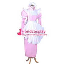 French Sissy Maid Lockable Baby Pink PVC Dress Uniform Cosplay Costume Tailor-made[G3981]