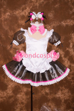 Sexy Lockable Lockable Black White Clear PVC Sissy Maid Short Dress Cosplay Costume Uniform[T003]