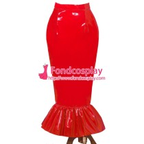 French Sissy Maid Red PVC Skirt Lockable Uniform Cosplay Costume Tailor-Made[G3982]