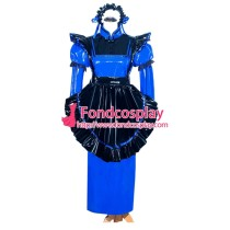 French Sissy Maid Lockable Blue PVC Dress Uniform Cosplay Costume Tailor-made[G3987]