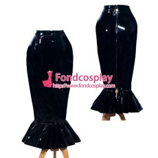 French Sissy Maid Black PVC Skirt Lockable Uniform Cosplay Costume Tailor-Made[G3983]