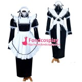 French Sissy Maid Lockable Black PVC Dress Uniform Cosplay Costume Tailor-made[G3985]