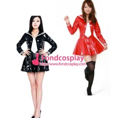 French Sissy Maid Lockable Black Red PVC Dress Uniform Cosplay Costume Tailor-made[G3984]