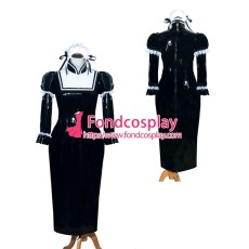French Sissy Maid Lockable Black PVC Dress Uniform Cosplay Costume Tailor-made[G3986]