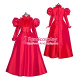 French Sissy Maid Lockable Red Satin Dress Uniform Cosplay Costume Tailor-made[G3994]