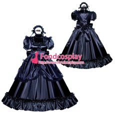 French Sissy Maid Lockable Black Satin Dress Uniform Cosplay Costume Tailor-made[G3989]