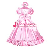 French Sissy Maid Lockable Pink Satin Dress Uniform Cosplay Costume Tailor-made[G3990]