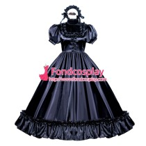 French Sissy Maid Lockable Black Satin Dress Uniform Cosplay Costume Tailor-made[G3988]