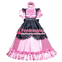 French Sissy Maid Lockable Pink Satin Dress Uniform Cosplay Costume Tailor-made[G3993]