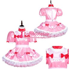 French Sissy Maid Lockable Baby Pink PVC Dress Uniform Cosplay Costume Tailor-made[G3996]