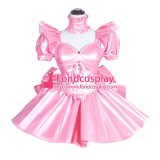 French Sissy Maid Lockable Baby Pink PVC Dress Uniform Cosplay Costume Tailor-made[G3997]