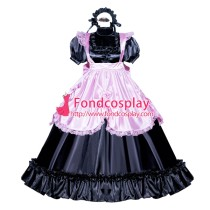 French Sissy Maid Lockable Black Pink Satin Dress Uniform Cosplay Costume Tailor-made[G3995]