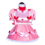 French Sissy Maid Lockable Baby Pink Satin Dress Uniform Cosplay Costume Tailor-made[G3998]
