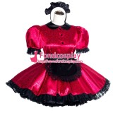 French Sissy Maid Lockable Red Satin Dress Uniform Cosplay Costume Tailor-made[G4000]
