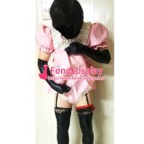 French Sissy Maid Lockable Baby Pink PVC Romper Dress Uniform Cosplay Costume Tailor-made[G3999]