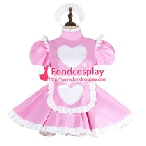 French Sissy Maid Lockable Baby Pink PVC Dress Uniform Cosplay Costume Tailor-made[G4003]