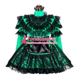 French Sissy Maid Lockable Green Satin Dress Uniform Cosplay Costume Tailor-made[G4002]