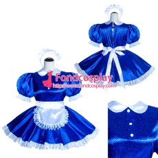 French Sissy Maid Lockable Blue Satin Dress Uniform Cosplay Costume Tailor-made[G4001]