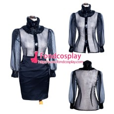 French Sissy Maid Black Satin Skirt organza shirt Uniform Cosplay Costume Tailor-made[G4005]