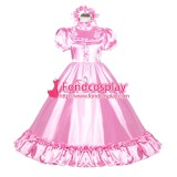 French Sissy Maid Lockable Baby Pink satin long Dress Uniform Cosplay Costume Tailor-made[G4008]