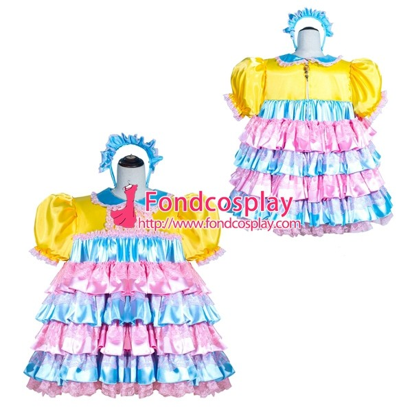 French Sissy Maid Lockable satin Dress Uniform Cosplay Costume Tailor-made[G4007]