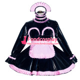 French Sissy Maid Lockable Black PVC Dress Uniform Cosplay Costume Tailor-made[G4051]