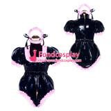 French Sissy Maid Lockable black PVC Romper Dress Uniform Cosplay Costume Tailor-made[G4049]
