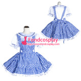 French Sissy Maid Lockable Blue plaid cotton Dress Uniform Cosplay Costume Tailor-made[G4014]