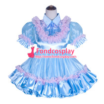 French Sissy Maid Lockable blue satin Organza Dress Uniform Cosplay Costume Tailor-made[G4059]