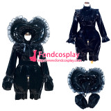 French Sissy Maid Lockable Black PVC Romper Dress Uniform Cosplay Costume Tailor-made[G4011]