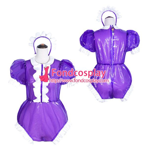French Sissy Maid purple Clear Pvc Romper Lockable Uniform Cosplay Costume Tailor-Made[G4062]