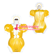 French Sissy Maid yellow Clear Pvc Romper Lockable Uniform Cosplay Costume Tailor-Made[G4066]