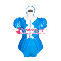 French Sissy Maid blue Clear Pvc Romper Lockable Uniform Cosplay Costume Tailor-Made[G4065]