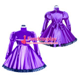 French Sissy Maid Lockable purple satin Dress Uniform Cosplay Costume Tailor-made[G4033]