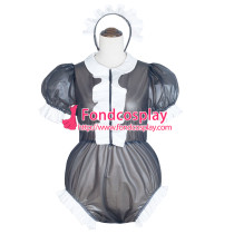 French Sissy Maid black Clear Pvc Romper Lockable Uniform Cosplay Costume Tailor-Made[G4058]