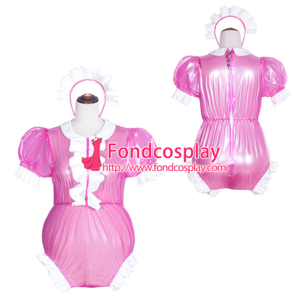 French Sissy Maid Hot pink Clear Pvc Romper Lockable Uniform Cosplay Costume Tailor-Made[G4067]