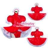 French Sissy Maid Lockable Red PVC Romper Dress Uniform Cosplay Costume Tailor-made[G4060]