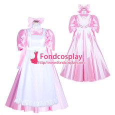 French Sissy Maid Lockable Baby Pink satin long Dress Uniform Cosplay Costume Tailor-made[G4043]