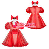 French Sissy Maid Lockable Red Organza Dress Uniform Cosplay Costume Tailor-made[G4053]