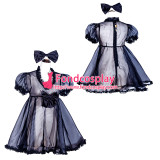 French Sissy Maid Lockable black Organza Dress Uniform Cosplay Costume Tailor-made[G4030]