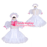 French Sissy Maid Lockable white Organza Dress Uniform Cosplay Costume Tailor-made[G4047]