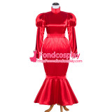 French Sissy Maid Satin red Dress Lockable Uniform Cosplay Costume Tailor-Made[G4061]