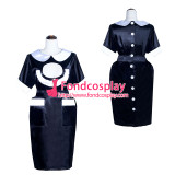 French Sissy Maid black satin Dress Uniform Lockable Cosplay Costume Tailor-made[G4031]