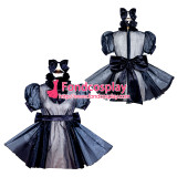 French Sissy Maid Lockable black Organza Dress Uniform Cosplay Costume Tailor-made[G4054]