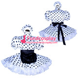 French Sissy Maid Lockable white dots satin Dress Uniform Cosplay Costume Tailor-made[G4019]