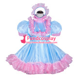 French Sissy Maid Lockable blue satin pink Organza Dress Uniform Cosplay Costume Tailor-made[G4055]