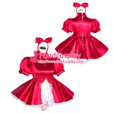 French Sissy Maid Lockable Red satin Dress Uniform Cosplay Costume Tailor-made[G4034]