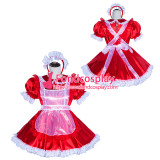 French Sissy Maid Lockable Red satin Dress Uniform Cosplay Costume Tailor-made[G4018]
