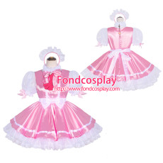 French Sissy Maid Lockable pink satin white Organza Dress Uniform Cosplay Costume Tailor-made[G4048]
